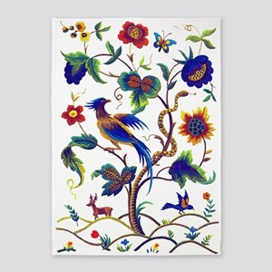 Bird of Paradise Jacobean Embroider 5'x7'Area Rug