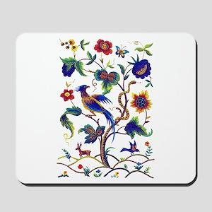 Bird of Paradise Jacobean Embroidery Mousepad