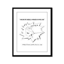 Funny Billiard Mouse Cartoon Framed Panel Print