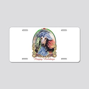 Afghan Hound Storm Happy Ho Aluminum License Plate
