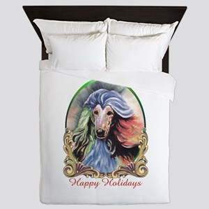 Afghan Hound Storm Happy Holidays Queen Duvet
