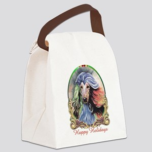 Afghan Hound Storm Happy Holidays Canvas Lunch Bag