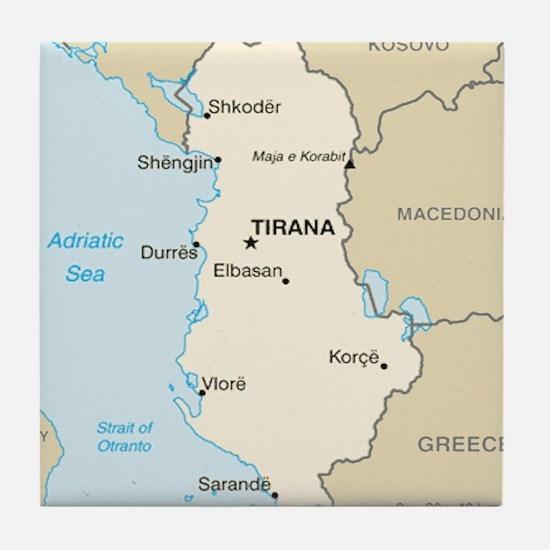Albanian Map Tile Coaster
