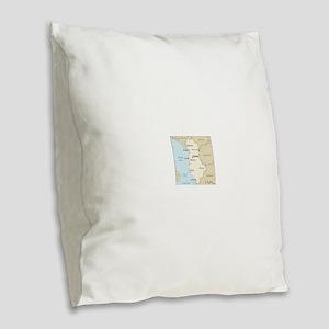 Albanian Map Burlap Throw Pillow