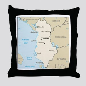 Albanian Map Throw Pillow