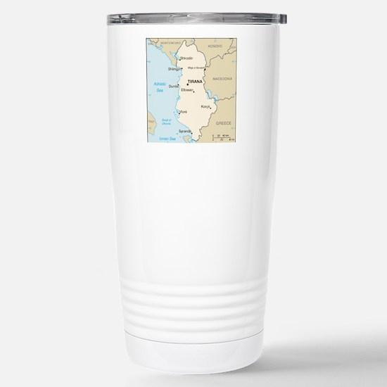 Albanian Map Stainless Steel Travel Mug
