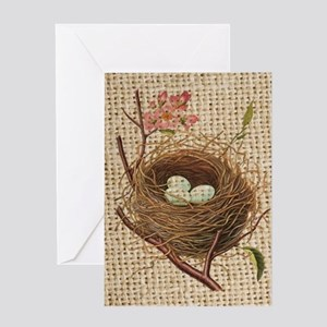 burlap modern vintage bird nest Greeting Cards
