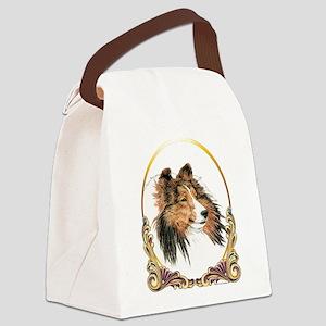 Shetland Sheepdog Sheltie Holiday Canvas Lunch Bag