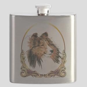Shetland Sheepdog Sheltie Holiday Flask