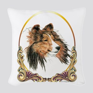 Shetland Sheepdog Sheltie Holi Woven Throw Pillow