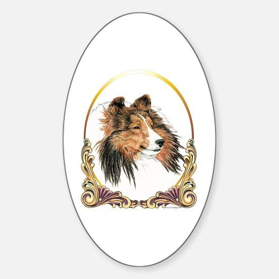 Shetland Sheepdog Sheltie Holiday Sticker (Oval)