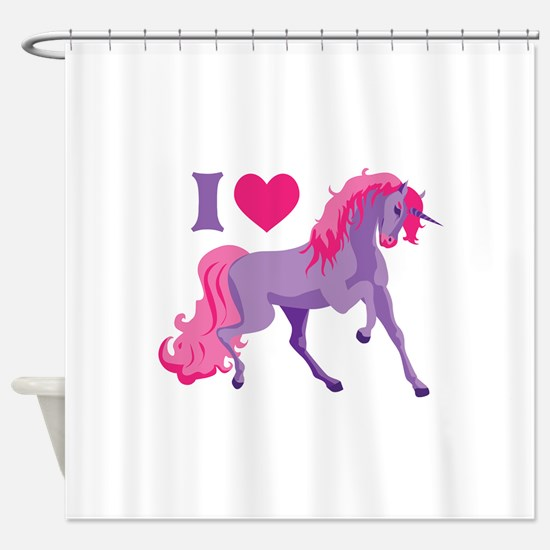 I Love Unicorns Shower Curtain
