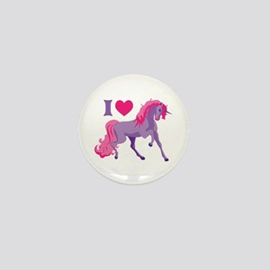 I Love Unicorns Mini Button