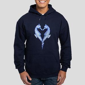 Seahorses Together Blue Hoodie (dark)