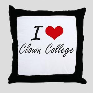 I love Clown College Throw Pillow
