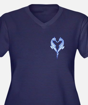 Seahorses Together Blue Plus Size T-Shirt