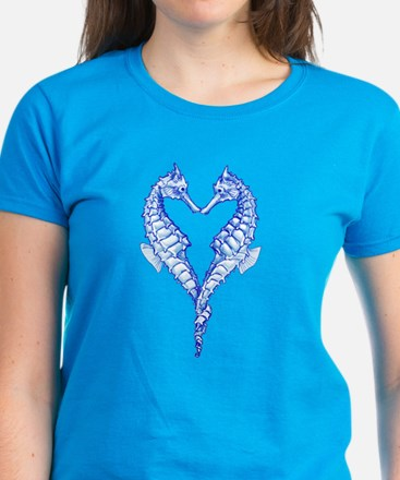 Seahorses Together Blue T-Shirt