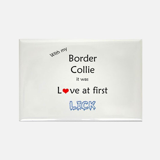 Border Collie Lick Rectangle Magnet