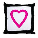 Pink Open Heart Throw Pillow