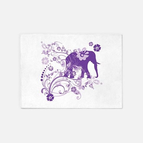 Elephant Swirls Purple 5'x7'Area Rug