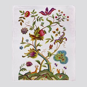 Tree of Life Jacobean Embroidery Throw Blanket