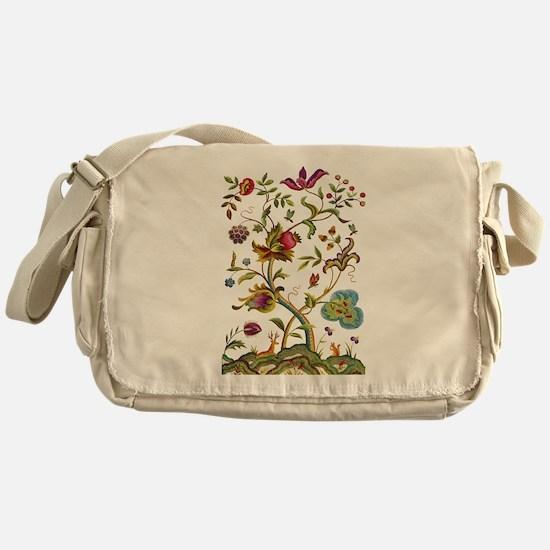 Tree of Life Jacobean Embroidery Messenger Bag