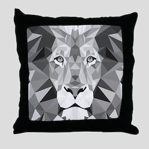 Gray Lion Throw Pillow
