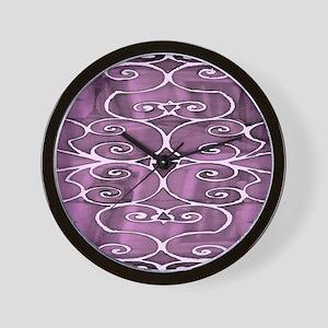 Filigree Black White Pink Wall Clock