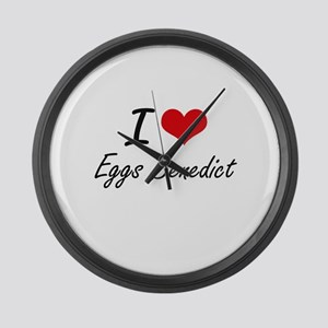 I love Eggs Benedict Large Wall Clock