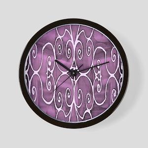 Filigree Pink Virtcle Wall Clock