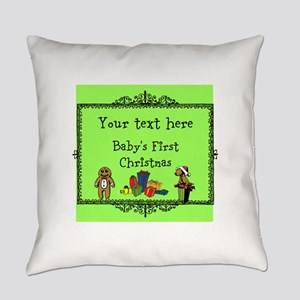 Customizable Babys First Christmas Everyday Pillow