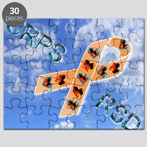 CRPS RSD Fire & Ice Hearts Ribbon blue sky Puzzle