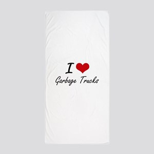 I love Garbage Trucks Beach Towel