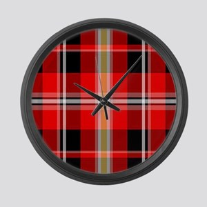 Red Plaid Large Wall Clock
