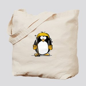 Gold Hockey Penguin Tote Bag