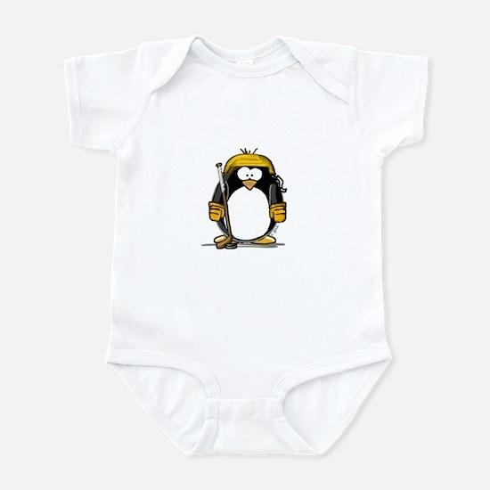 Gold Hockey Penguin Infant Bodysuit