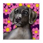 WEIMARANER DOG flowers Tile Coaster