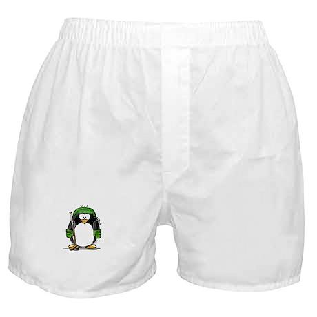 Green Hockey Penguin Boxer Shorts