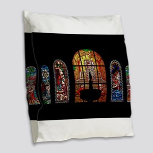 stained glass jesus Burlap Throw Pillow