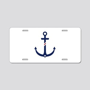 Anchor with stripes Aluminum License Plate