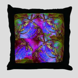 Dragonfly Hippy Flit Throw Pillow
