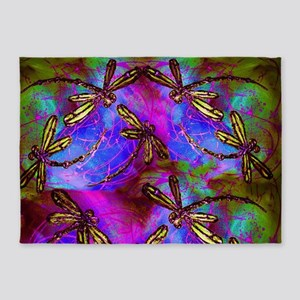 Dragonfly Hippy Flit 5'x7'Area Rug