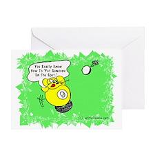 Funny Billiard Mouse Spot Shot Carto Greeting Card