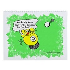 Funny Billiard Mouse Spot Shot Carto Wall Calendar