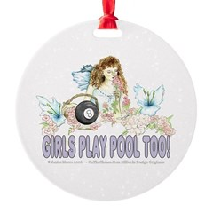 Girls Play Pool Too 8 Ball Ornament