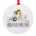 Girls Play Pool Too 8 Ball Round Ornament
