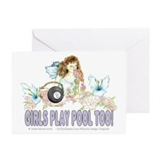 Girls Play Pool Too 8 Ba Greeting Cards (Pk of 20)