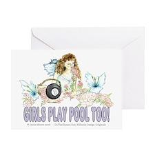 Girls Play Pool Too 8 Ball Greeting Card