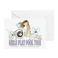 Girls Play Pool Too 8 Ba Greeting Cards (Pk of 10)