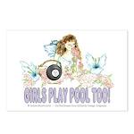 Girls Play Pool Too 8 Bal Postcards (Package of 8)